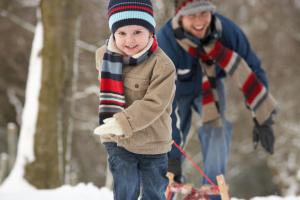 Children Pulling Sledge Through Winter Landscape